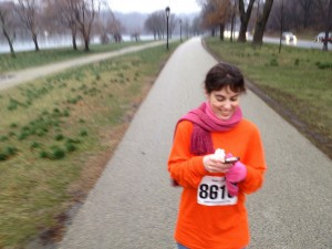 Jane Cirigliano working the 5k